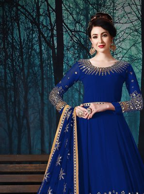 Faux Georgette Blue Embroidered Trendy Anarkali Suit