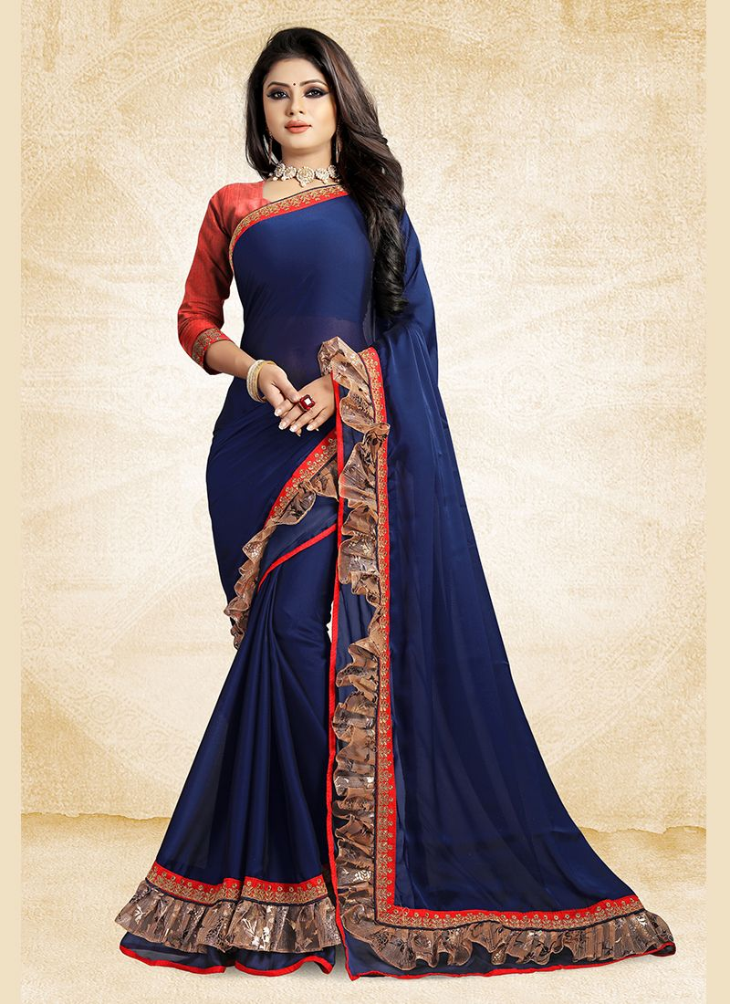 Faux Georgette Blue Lace Designer Saree