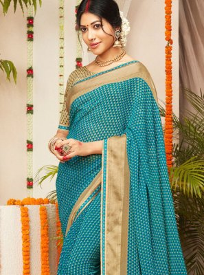 Faux Georgette Blue Lace Trendy Saree