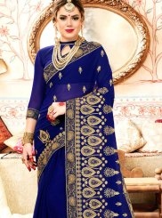 Faux Georgette Blue Patch Border Saree