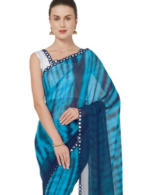 Faux Georgette Blue Printed Saree