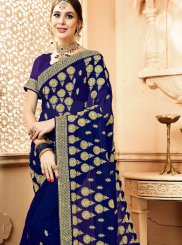 Faux Georgette Blue Resham Saree