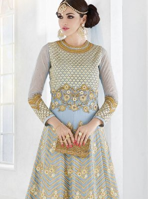 Faux Georgette Blue Resham Work Floor Length Anarkali Suit