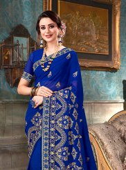 Faux Georgette Blue Saree