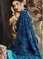 Faux Georgette Blue Saree