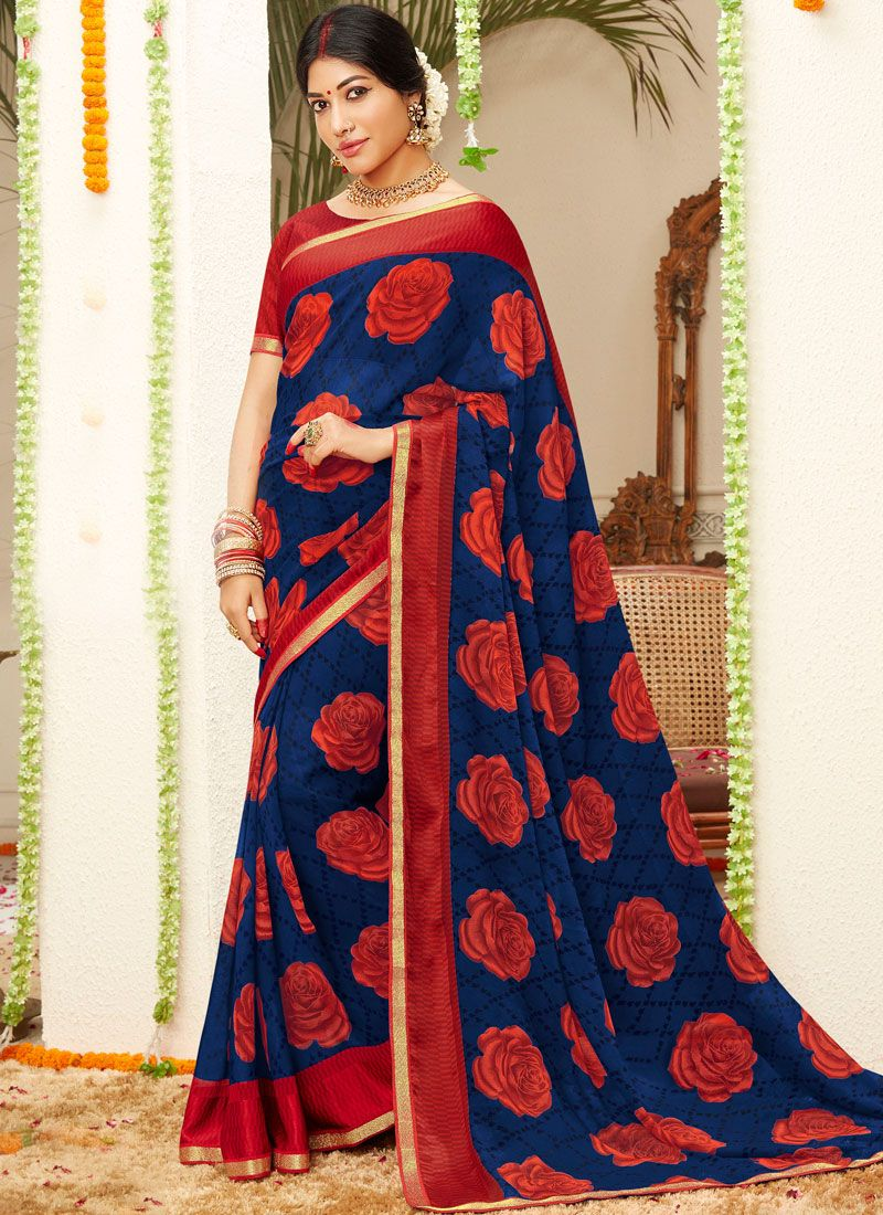 Faux Georgette Blue Traditional Saree