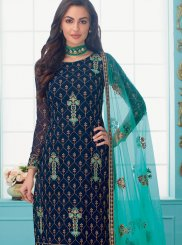 Faux Georgette Blue Trendy Churidar Salwar Kameez