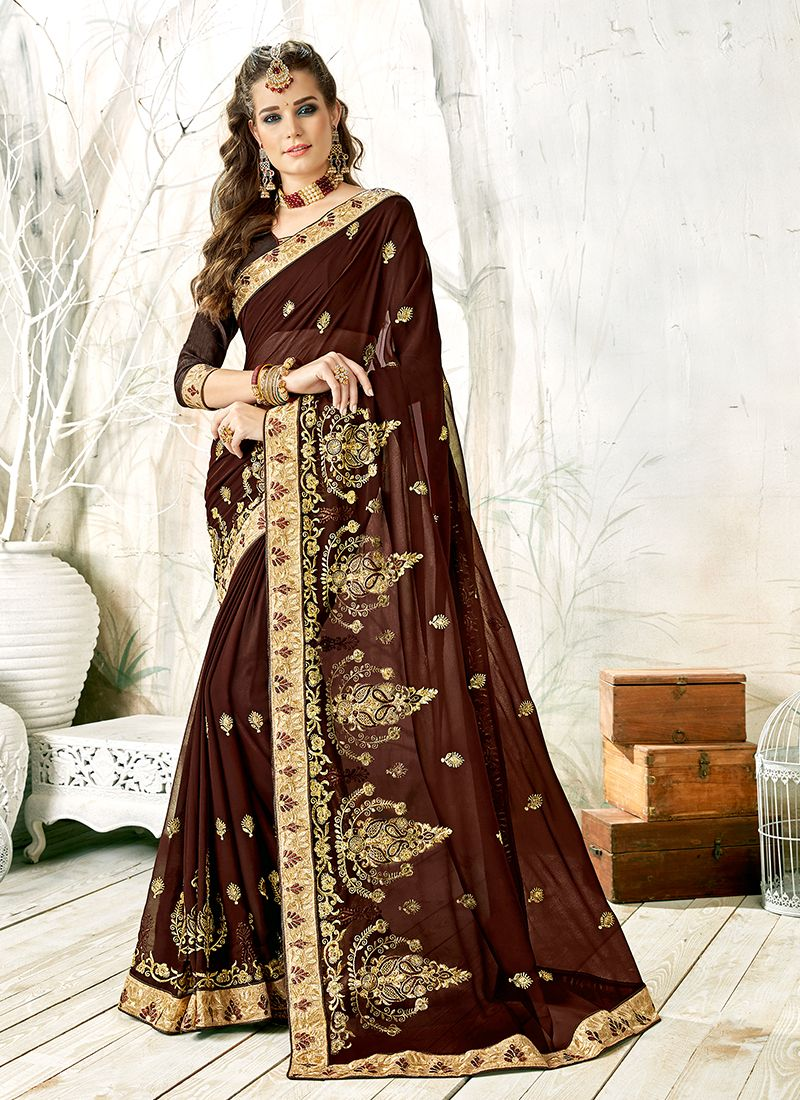 Faux Georgette Brown Embroidered Classic Designer Saree
