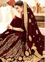 Faux Georgette Brown Embroidered Saree