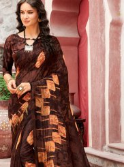 Faux Georgette Brown Printed Casual Saree