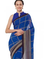 Faux Georgette Casual Saree in Blue