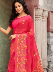 Faux Georgette Casual Saree in Hot Pink
