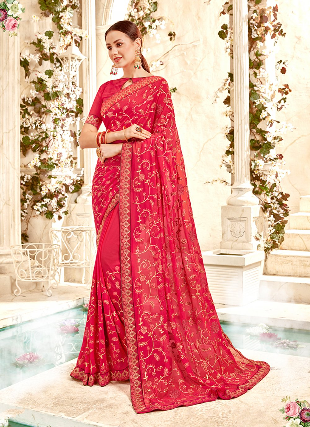 Faux Georgette Ceremonial Classic Designer Saree