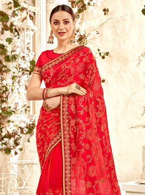 Faux Georgette Ceremonial Trendy Saree