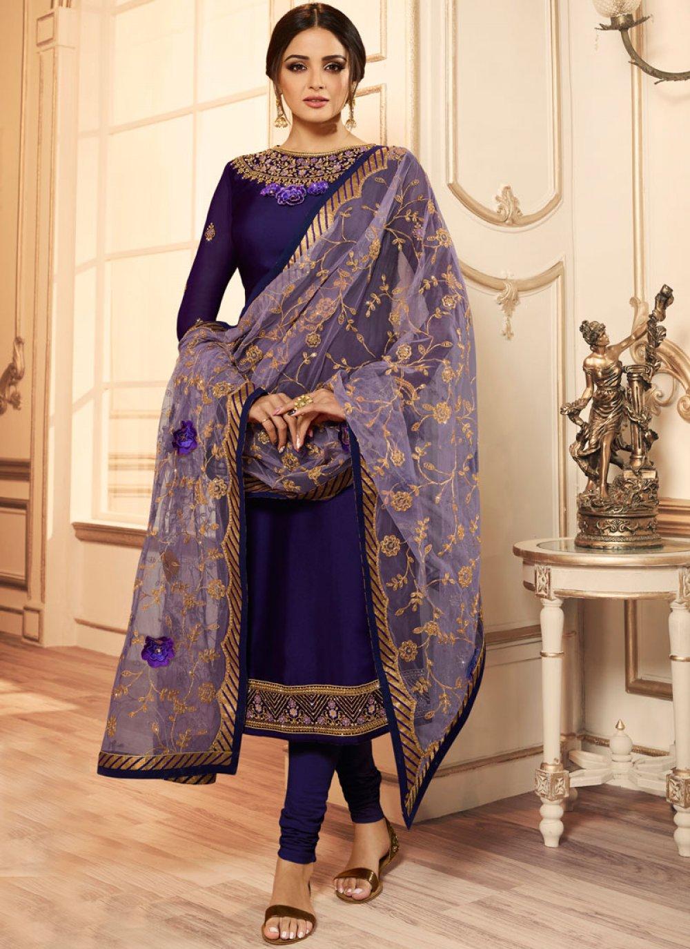 Faux Georgette Churidar Designer Suit