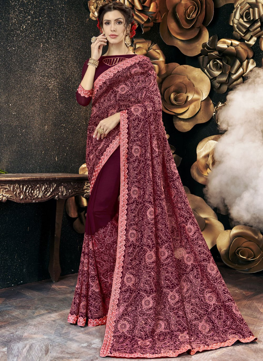 Faux Georgette Classic Designer Saree in Wine