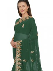 Faux Georgette Classic Saree in Green