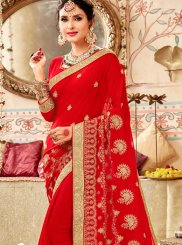 Faux Georgette Classic Saree in Red