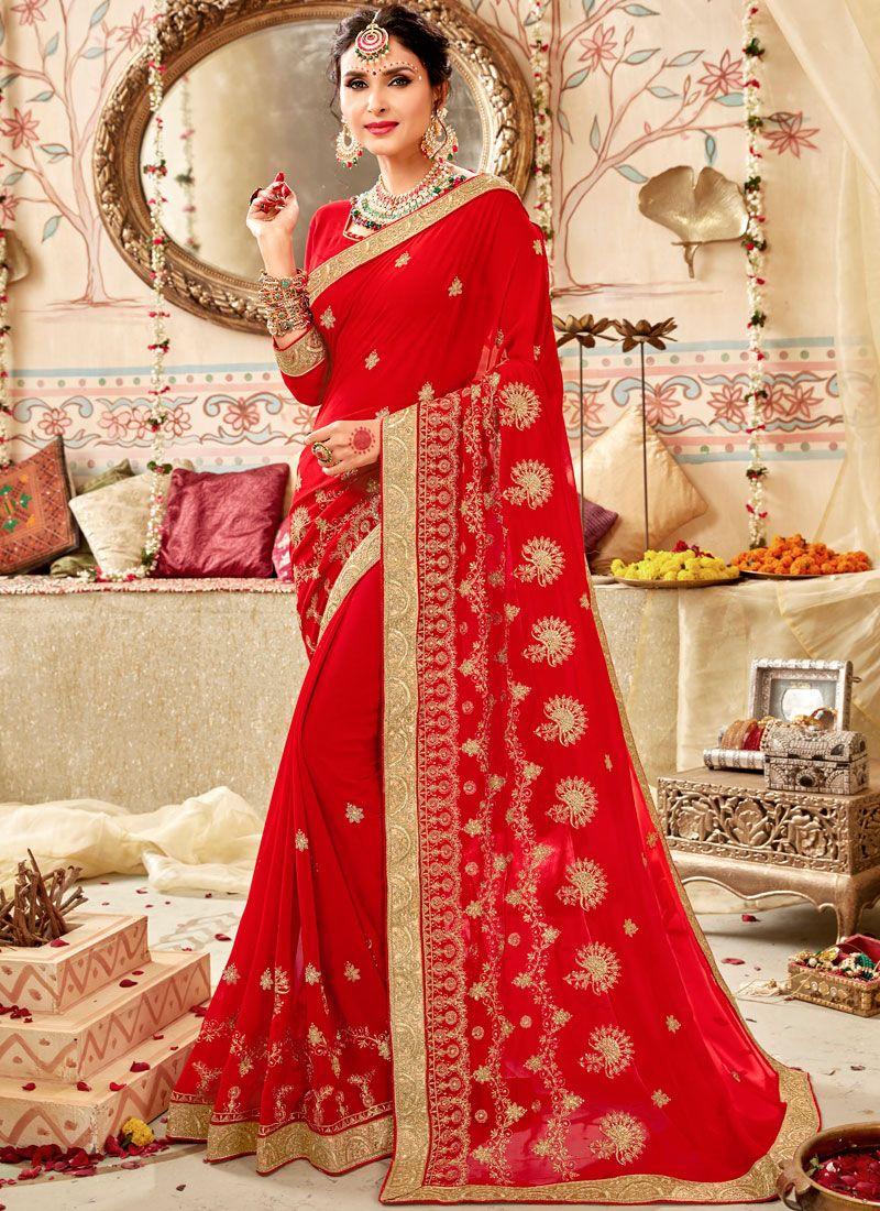 Faux Georgette Classic Saree in Red