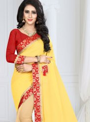 Faux Georgette Cream and Yellow Designer Half N Half Saree