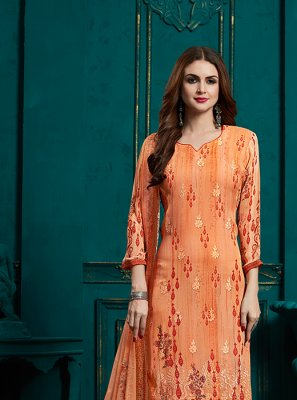 Faux Georgette Designer Pakistani Suit in Peach
