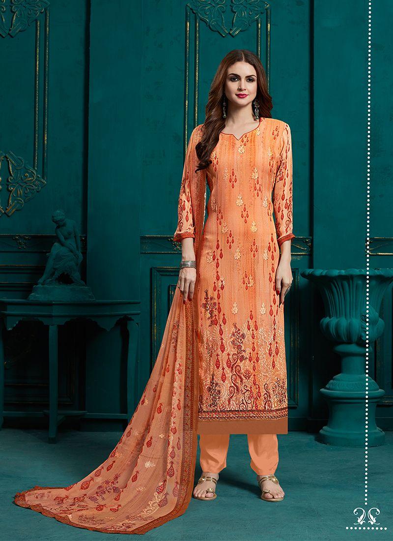 Faux Georgette Designer Pakistani Suit in Peach