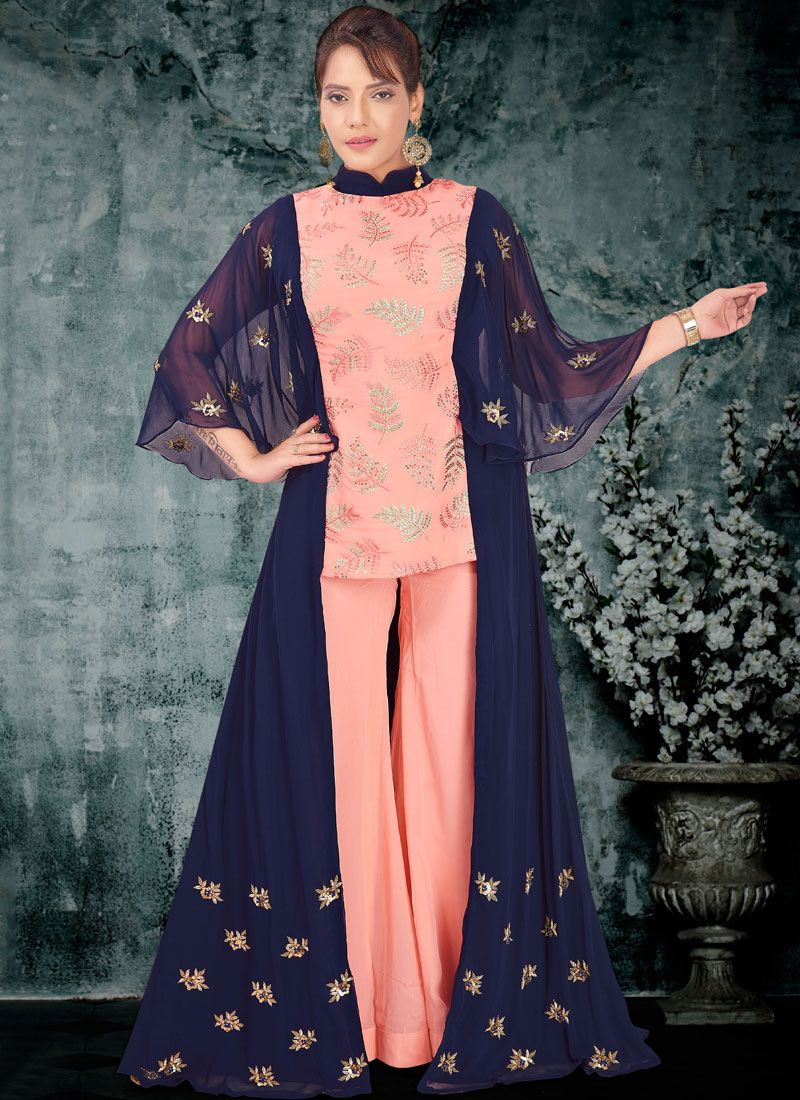 Faux Georgette Designer Palazzo Salwar Kameez in Blue and Pink