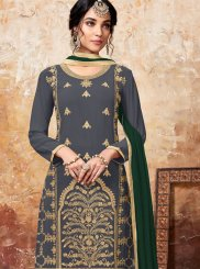 Faux Georgette Designer Palazzo Suit in Green and Grey