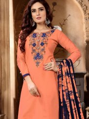 Faux Georgette Designer Patiala Suit in Peach
