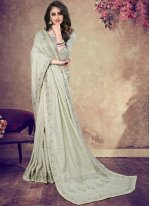 Faux Georgette Designer Traditional Saree in Blue