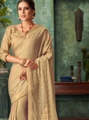 Faux Georgette Designer Traditional Saree in Gold