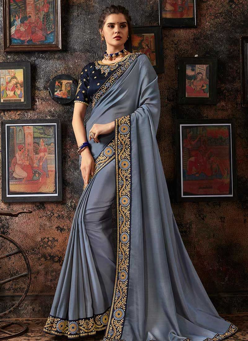 Faux Georgette Designer Traditional Saree in Grey