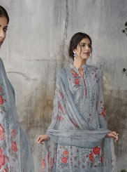 Faux Georgette Digital Print Grey Pant Style Suit