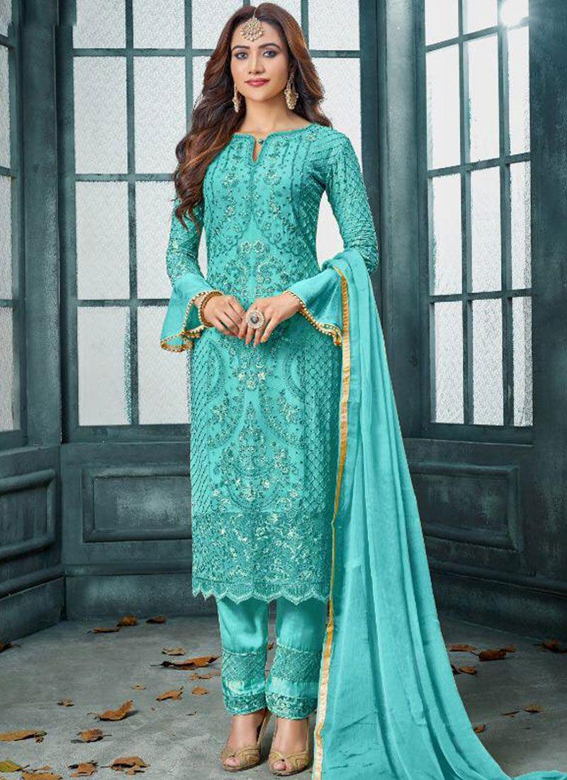 Faux Georgette Embroidered Aqua Blue Trendy Pakistani Salwar Kameez