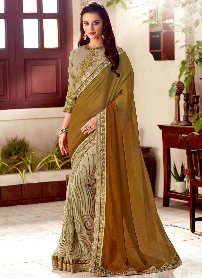 f1f6e39029 Shop Faux Georgette Embroidered Beige and Brown Half N Half Designer Saree  Online : 97431 -