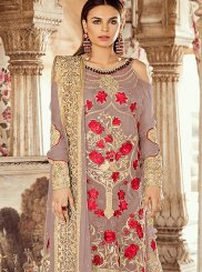 Faux Georgette Embroidered Beige Pant Style Suit