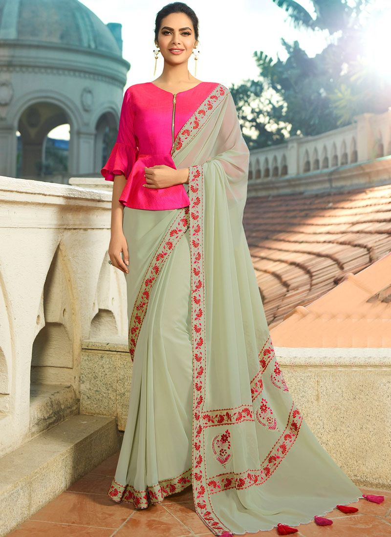 Faux Georgette Embroidered Beige Saree