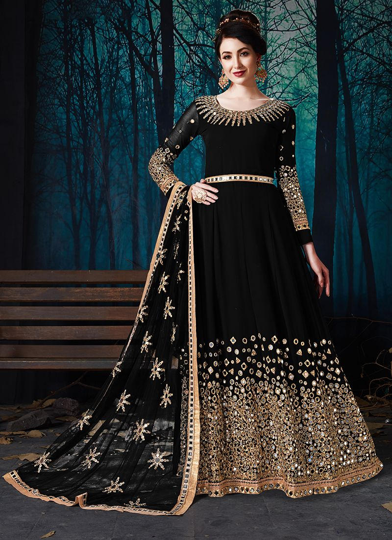 Faux Georgette Embroidered Black Anarkali Suit