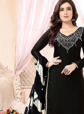 Faux Georgette Embroidered Black Punjabi Suit