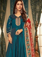 Faux Georgette Embroidered Blue Readymade Gown