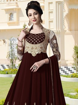 Faux Georgette Embroidered Brown Anarkali Salwar Suit