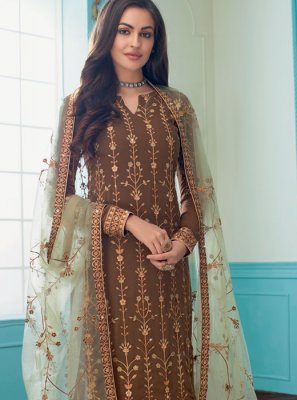 Faux Georgette Embroidered Brown Churidar Suit