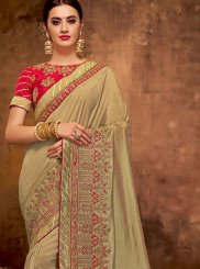 Faux Georgette Embroidered Brown Designer Traditional Saree