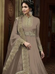 Faux Georgette Embroidered Brown Desinger Anarkali Salwar Kameez