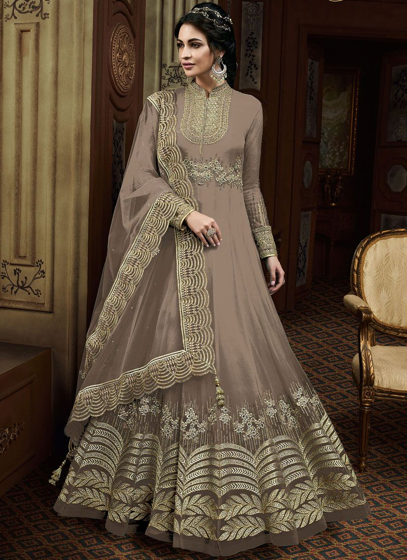 Faux Georgette Embroidered Brown Desinger Anarkali Salwar Kameez