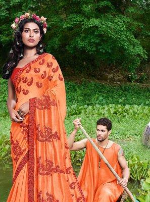 Faux Georgette Embroidered Casual Saree in Orange
