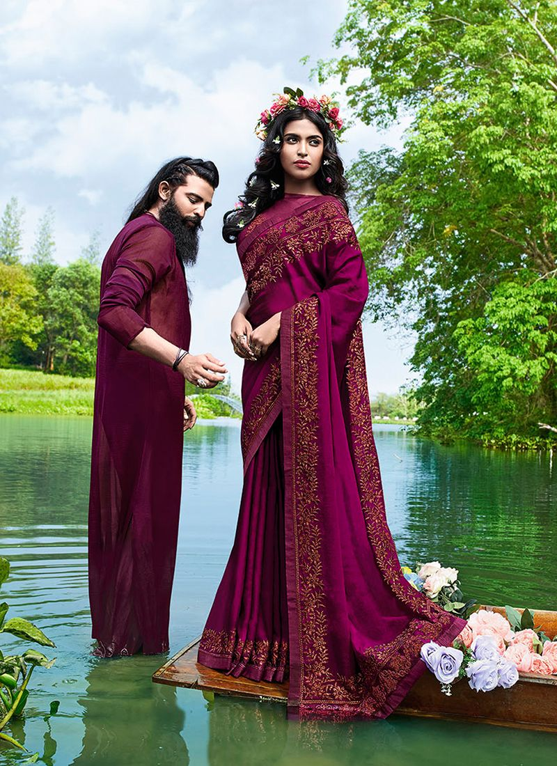 Faux Georgette Embroidered Casual Saree in Wine