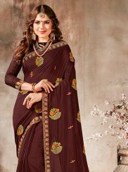 Faux Georgette Embroidered Classic Saree