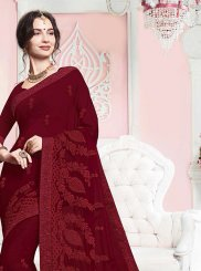 Faux Georgette Embroidered Classic Saree in Rust