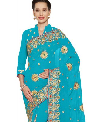 Faux Georgette Embroidered Classic Saree in Turquoise